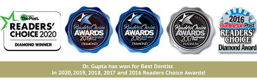 Dr. Gupta has won for Best Dentist in the 2020 Reader's Choice Awards!