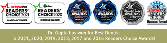 Dr. Gupta has won for Best Dentist in the 2021 Reader's Choice Awards!